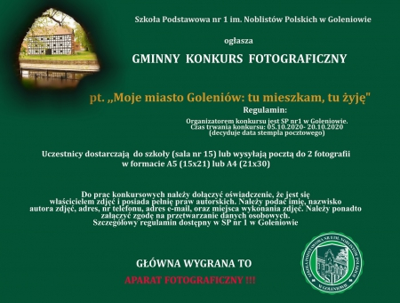 Szkoła Podstawowa nr 1 w Goleniowie ogłasza gminny konkurs fotograficzny  pt: ,, Moje miasto Goleniów: tu mieszkam, tu żyję